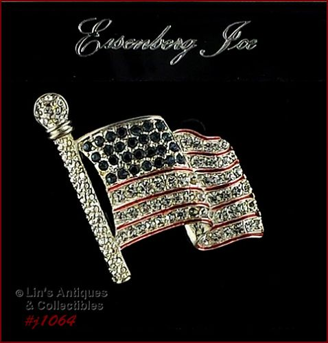 SIGNED EISENBERG ICE PATRIOTIC FLAG BROOCH
