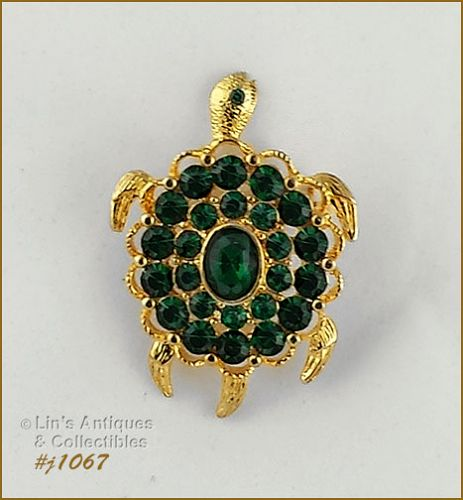 EISENBERG ICE TURTLE PIN GOLD TONE WITH EMERALD GREEN RHINESTONES