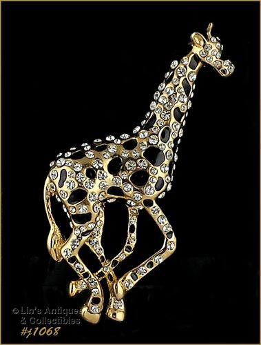 EISENBERG ICE GIRAFFE PIN WITH CLEAR RHINESTONES AND BLACK ENAMELING
