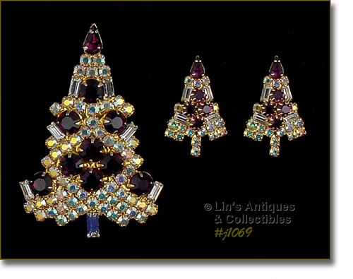 EISENBERG ICE CANDLE TREE PIN AND EARRINGS AB AND PURPLE RHINESTONES