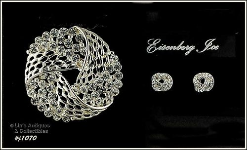 EISENBERG ICE LOVE KNOT PIN AND EARRINGS WITH CLEAR RHINESTONES