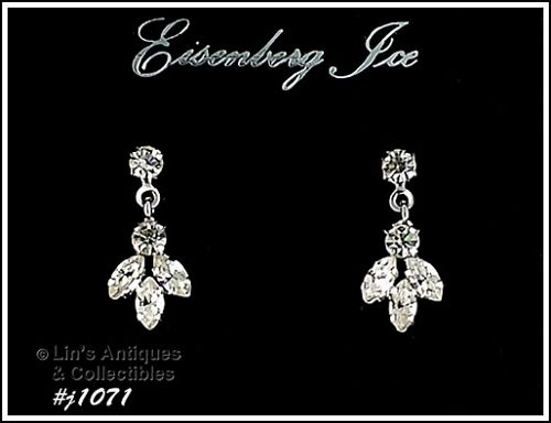 EISENBERG DANGLE EARRINGS SILVER TONE WITH CLEAR RHINESTONES
