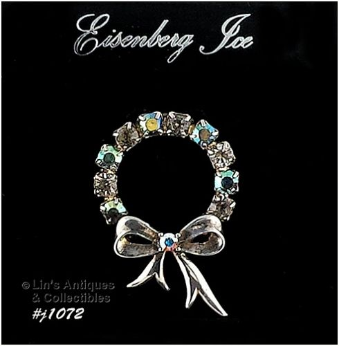 SIGNED EISENBERG ICE SMALL RHINESTONE WREATH SHAPED PIN
