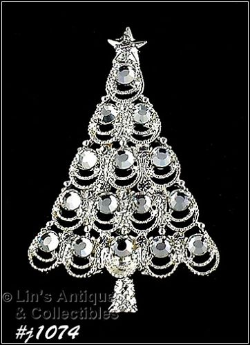 EISENBERG ICE CHRISTMAS TREE PIN SILVER TONE WITH CLEAR RHINESTONES