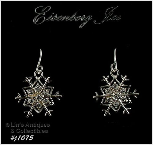 EISENBERG ICE RHINESTONES SNOWFLAKE SILVER TONE PIERCED EARRINGS