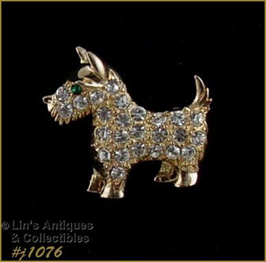 Signed Eisenberg Ice Scottie Dog Pin Gold Tone and Rhinestones