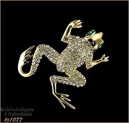 EISENBERG ICE LEAPING FROG PIN WITH CLEAR AND GREEN RHINESTONES
