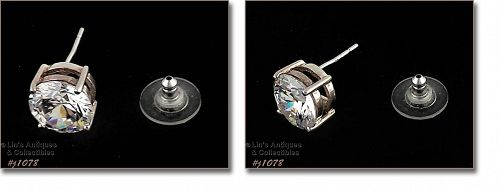 925 SILVER SINGLE POST STYLE EARRING WITH A HALF INCH DIAMETER CZ
