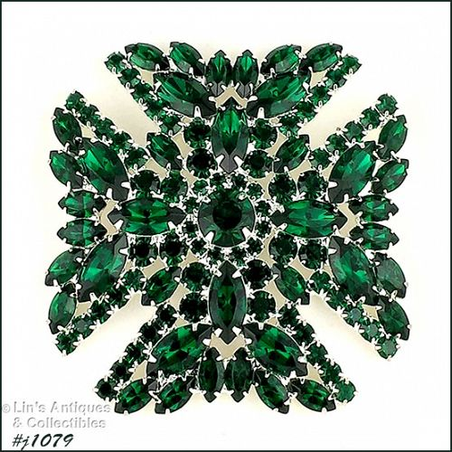 EISENBERG ICE MALTESE CROSS PIN WITH DARK EMERALD GREEN RHINESTONES