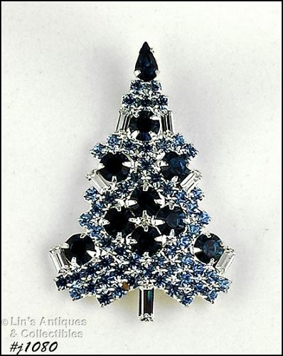 EISENBERG ICE SHADES OF BLUE CANDLE TREE CHRISTMAS TREE PIN