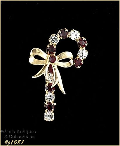 EISENBERG ICE CANDY CANE PIN GOLD TONE WITH RED AND CLEAR RHINESTONES