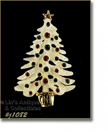 EISENBERG ICE WHITE CHRISTMAS TREE PIN WITH RED AND GREEN RHINESTONES