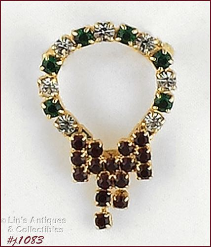 EISENBERG ICE GOLD TONE RHINESTONE CHRISTMAS WREATH PIN