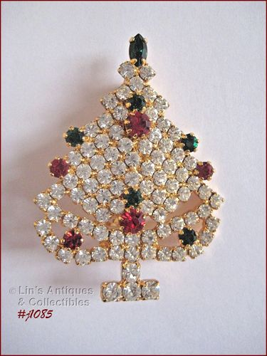 EISENBERG ICE CHRISTMAS TREE PIN GOLD TONE WITH CLEAR RHINESTONES