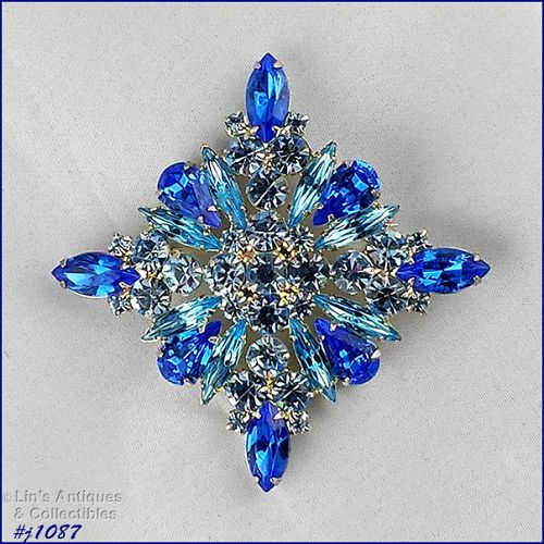 EISENBERG ICE SHADES OF BLUE DIAMOND SHAPE SILVER TONE PIN