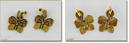 YVES SAINT LAURENT VINTAGE BUTTERFLY GOLD TONE CLIP BACK EARRINGS