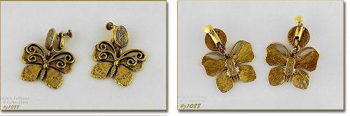 Vintage Yves Saint Laurent Earrings Butterflies Clip Back