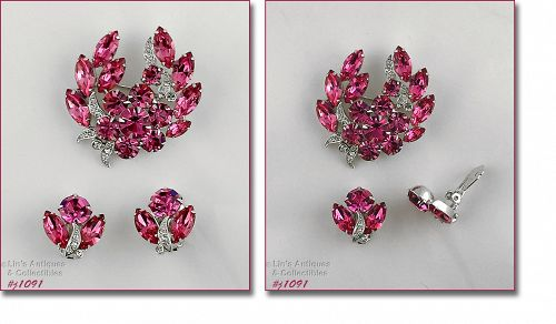 EISENBERG ICE PINK AND CLEAR RHINESTONES PIN AND EARRINGS SET