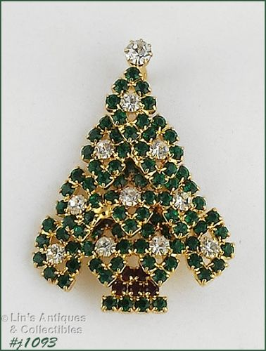 EISENBERG ICE GREEN AND CLEAR RHINESTONES CHRISTMAS TREE PIN