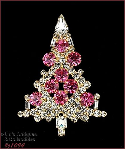 EISENBERG ICE PINK AND CLEAR RHINESTONES LARGE CHRISTMAS TREE PIN