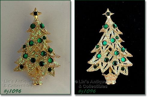EISENBERG ICE WHITE GLITTER TREE WITH GREEN RHINESTONES
