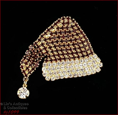 EISENBERG ICE SANTA HAT RHINESTONE COVERED PIN