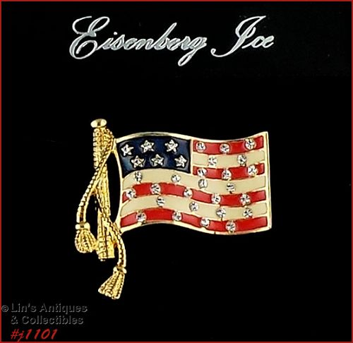 EISENBERG ICE PATRIOTIC FLAG PIN ENAMEL WITH CLEAR RHINESTONES