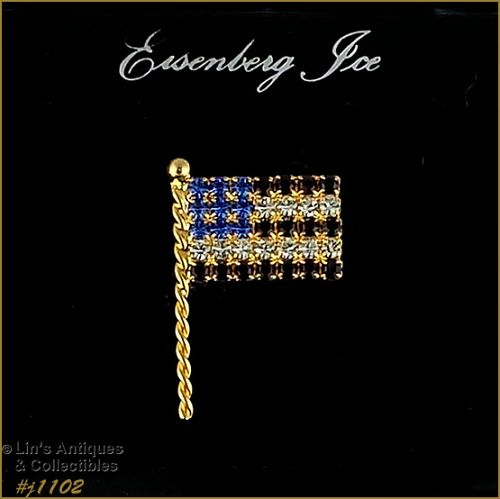 EISENBERG ICE RHINESTONE PATRIOTIC FLAG PIN RED WHITE BLUE RHINESTONES