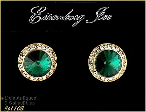EISENBERG ICE EMERALD GREEN AND CLEAR RHINESTONES PIERCED EARRINGS