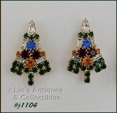 EISENBERG ICE CANDLE TREE RHINESTONE PIERCED EARRINGS