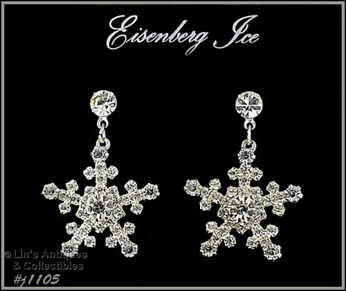 EISENBERG ICE SNOWFLAKE PIERCED EARRINGS WITH CLEAR RHINESTONES