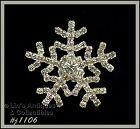 EISENBERG ICE SNOWFLAKE PIN COVERED WITH CLEAR RHINESTONES