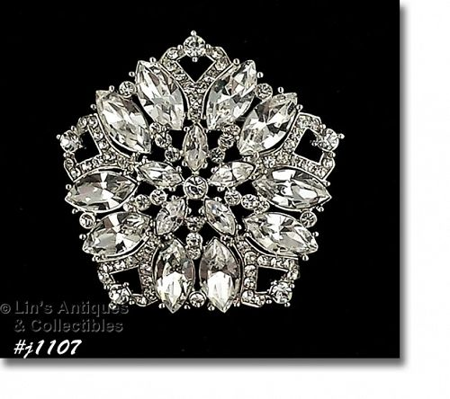 EISENBERG ICE PENTAGON SHAPED PIN COVERED WITH CLEAR RHINESTONES