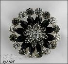 EISENBERG ICE ROUND PIN WITH BLACK GRAY AND CLEAR RHINESTONES