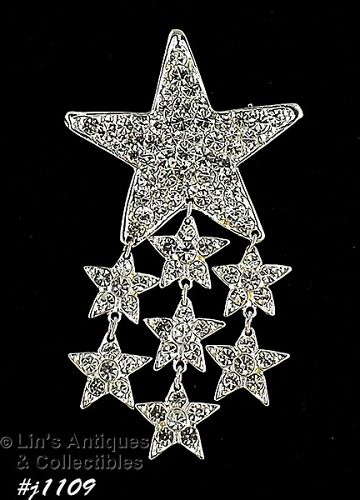 EISENBERG ICE RHINESTONE COVERED STAR WITH DANGLING STARS PIN