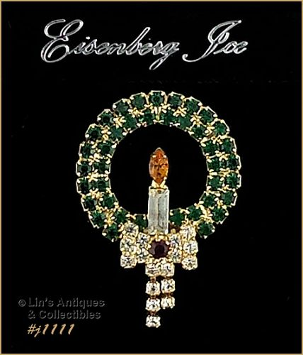 EISENBERG ICE RHINESTONE CHRISTMAS WREATH WITH CANDLE PIN