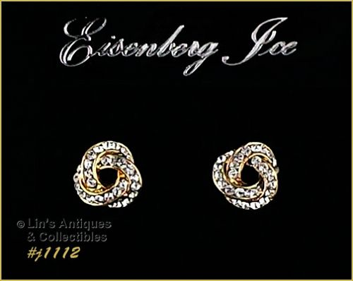 EISENBERG ICE LOVE KNOT GOLD TONE WITH RHINESTONES PIERCED EARRINGS