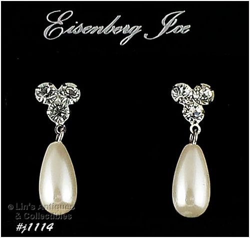 EISENBERG ICE RHINESTONE AND FAUX PEARL DANGLE PIERCED EARRINGS