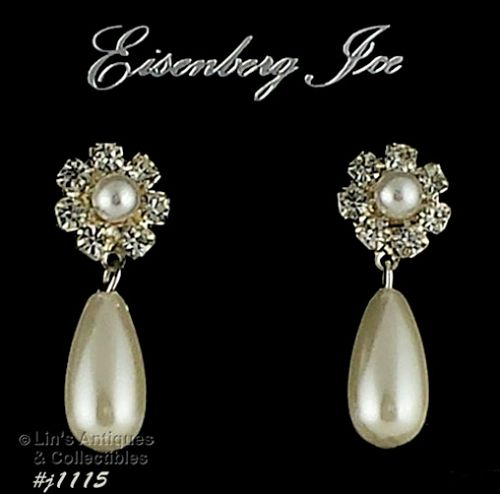 EISENBERG ICE FAUX PEARL AND RHINESTONES PIERCED EARRINGS