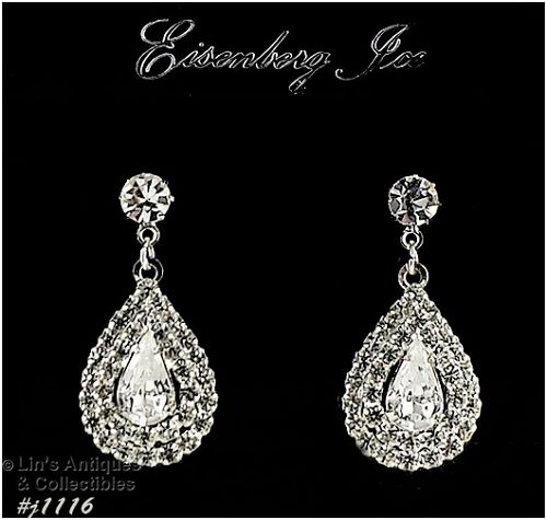EISENBERG ICE RHINESTONE DANGLE PIERCED EARRINGS