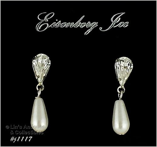 EISENBERG ICE CLEAR RHINESTONE AND FAUX PEARL PIERCED EARRINGS