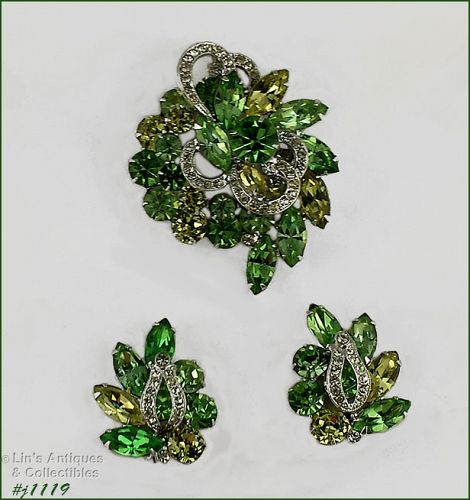 EISENBERG ICE VINTAGE RHINESTONE PIN AND MATCHING CLIP BACK EARRINGS