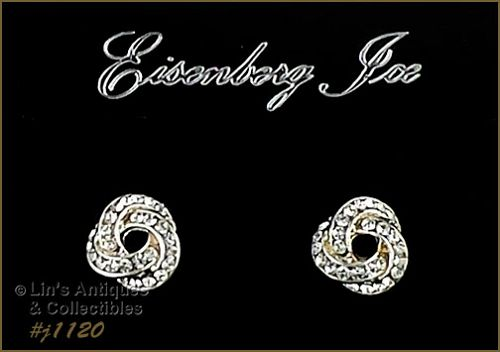 EISENBERG ICE LOVE KNOT SILVER TONE WITH RHINESTONES EARRINGS