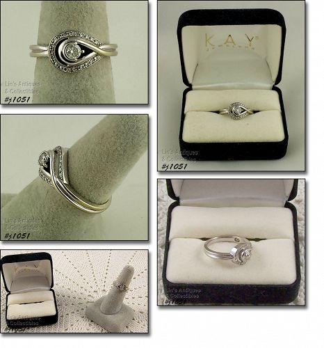 10k White Gold Diamond Ring Loves Embrace Size 6 1/2