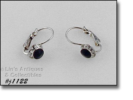 Eisenberg Ice Halo Style Black and Clear Rhinestones Pierced Earrings