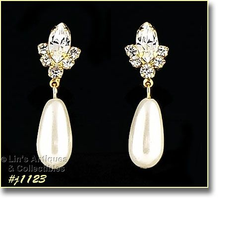 Eisenberg Ice Rhinestone and Faux Pearl Pierced Earrings