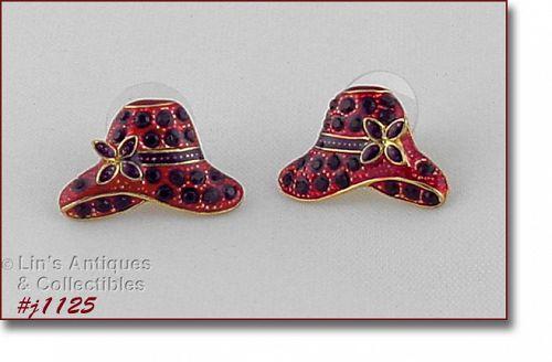 Eisenberg Ice Signed Earrings Red Hats Purple Rhinestones Gold Tone