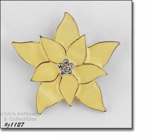 isenberg Ice Puddin Yellow Color poinsettia pin with Rhinestone Center