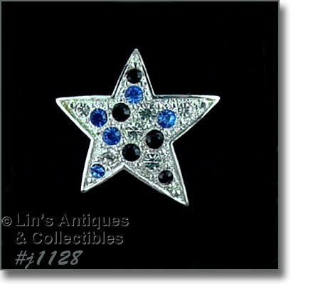 Eisenberg Ice Silver Tone Patriotic Star Shaped Pin