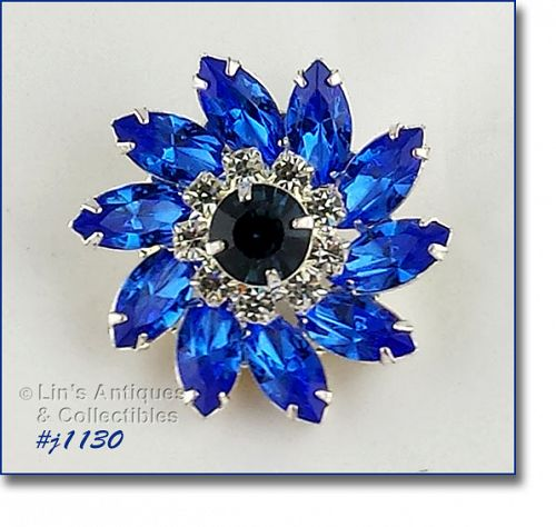 Eisenberg Ice Blue and Clear Rhinestones Pinwheel Shaped Brooch